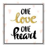 Un cuore di amore uno Iscrizione per il manifesto Immagine Stock