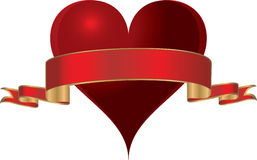 Un cuore di vettore con oro ha orlato il nastro rosso. illustrazione vettoriale