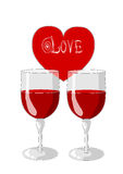 Un cuore e due vetri di vino Fotografia Stock