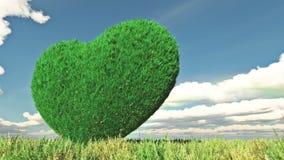 Un cuore erboso in un prato verde e nel galleggiamento si appanna con la maschera royalty illustrazione gratis
