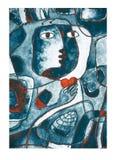 Un cuore rosso nelle mani, in un viso e nelle linee Pittura Cubistic illustrazione vettoriale
