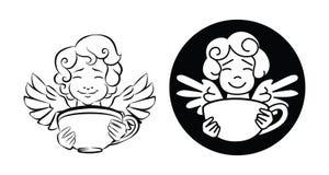 Un cupid lindo, asimientos a la taza de café Foto de archivo