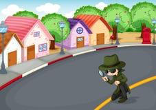 Un détective à la route illustration de vecteur
