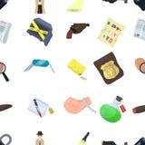 Un détective, un pistolet dans un étui, une police badge, une loupe et une empreinte digitale, des actualités criminelles et une  Images stock