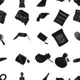 Un détective, un pistolet dans un étui, une police badge, une loupe et une empreinte digitale, des actualités criminelles et une  Photos libres de droits