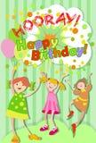 Un día de fiesta del ` s de los niños Cumpleaños Grupo alegre de niños stock de ilustración