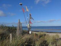 Un día de invierno soleado en la playa Foto de archivo libre de regalías