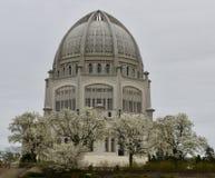 Un día lluvioso en el templo del ` i de Baha foto de archivo