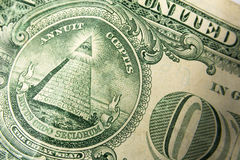 Un dólar Bill Detail Closeup White Background Currenc Fotografía de archivo