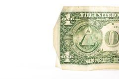 Un dólar Currenc aislado Bill Detail Closeup White Background Imagen de archivo
