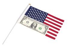 Un dólar en bandera americana Foto de archivo