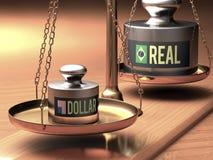 Un dólar más fuerte x real Imagenes de archivo