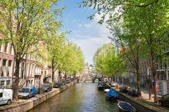 Un de canaux à Amsterdam, la Hollande photo stock