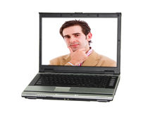Un de computadora personal con un hombre fotografía de archivo
