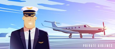 Un debout surface Voyage en l'avion Un pilote illustration libre de droits