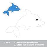 Un delfín de la historieta Línea discontinua y color del restablecimiento Fotos de archivo libres de regalías