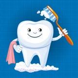 Un dente con lo spazzolino da denti Immagini Stock Libere da Diritti