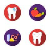Un dente con scintillare brillante, una mela con le carote utili per i denti, latte in una scatola, formaggio e un segno di calci illustrazione di stock