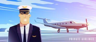 Un derecho acepilla Viaje en aeroplano Un piloto libre illustration