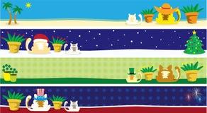 Un an des drapeaux de chat - partie une Photographie stock
