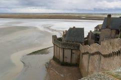 Un des nombreux murs intérieurs de Le-Mont-Saint-Michel Image libre de droits