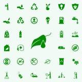 un descenso en un icono del verde de la hoja de la planta sistema universal de los iconos de Greenpeace para el web y el móvil stock de ilustración
