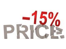Un descuento de 15% para el precio agrietado de las etiquetas Foto de archivo