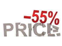 Un descuento del 55% para el precio agrietado de las etiquetas Foto de archivo