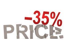 Un descuento del 35% para el precio agrietado de las etiquetas Fotografía de archivo