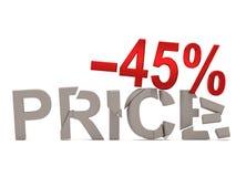 Un descuento del 45% para el precio agrietado de las etiquetas Fotos de archivo