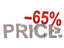 Un descuento del 65% para el precio agrietado de las etiquetas Fotografía de archivo