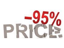 Un descuento del 95% para el precio agrietado de las etiquetas Fotografía de archivo