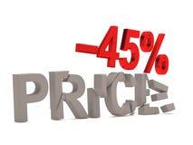 Un descuento del 45% para el precio agrietado de las etiquetas Fotografía de archivo