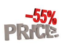 Un descuento del 55% para el precio agrietado de las etiquetas Imagenes de archivo