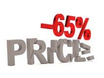 Un descuento del 65% para el precio agrietado de las etiquetas Fotografía de archivo libre de regalías