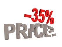 Un descuento del 35% para el precio agrietado de las etiquetas Fotos de archivo libres de regalías