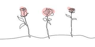 Un dessin au trait de lineart continu rose a placé des collections que les fleurs s'épanouissent le minimalisme de croquis illustration libre de droits
