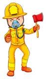 Un dessin d'un sapeur-pompier illustration de vecteur