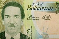 Un dettaglio della banconota di 10 Botswana Pola Fotografia Stock Libera da Diritti