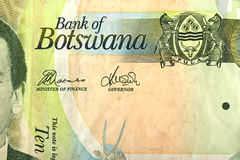 Un dettaglio della banconota di 10 Botswana Pola Immagine Stock