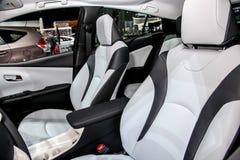 Un dettaglio di Toyota Prius dall'interno sulla mostra ai 2016 nuovi Immagine Stock