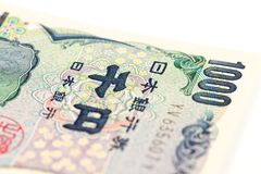 Un dettaglio di una banconota da 1000 Yen giapponesi Fotografie Stock Libere da Diritti