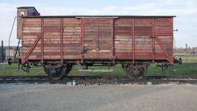 Un Deutsche Reichsbahn, chariot de marchandises, un type de voiture de rail utilisé pour des déportations dans le camp de concent Image stock