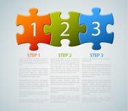 Un deux trois - parties de puzzle de vecteur avec des numéros Image libre de droits
