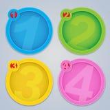 Un, deux, trois, quatre étiquettes circulaires Photo stock