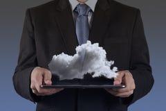 Un diagrama computacional de la nube en el nuevo interfaz del ordenador Foto de archivo
