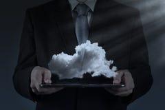 Un diagrama computacional de la nube en el nuevo interfaz del ordenador Imagen de archivo libre de regalías