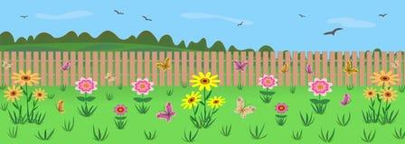 Un diagramma del giardino con i fiori Contro lo sfondo della natura illustrazione di stock