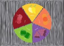 Un diagramma a torta di cinque colori di frutta e delle verdure, illustrazioni di vettore illustrazione vettoriale