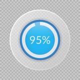 un diagramma a torta di 95 per cento su fondo trasparente Icona infographic di vettore di percentuale per finanza, affare, proget Immagini Stock Libere da Diritti